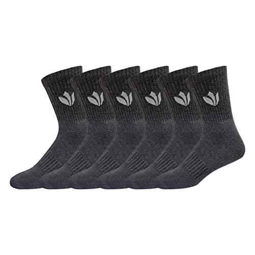 - Fresh Feet All Day Cushion Comfort Cotton Crew Socks - (6 Pairs, Shoe Size: 7-12, Grey)