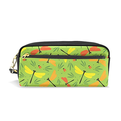 Sunlome Students PU Leather Summer Dragonflies Beetles Green Stationary Pencil Case Pen Bag Pouch Makeup Cosmetic Bag (Leather Dragon Green)