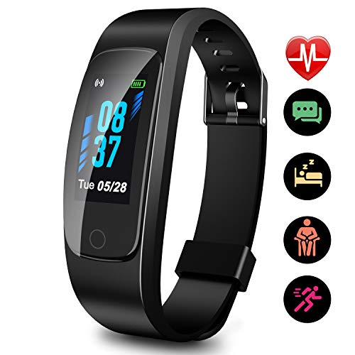 Updated 2019 Version High-End Fitness Tracker HR, High-End Activity Trackers Health Exercise Watch with Heart Rate Sleep Monitor, Smart Band Calorie Step Counter, Pedometer Walking for Men Women Kids ()