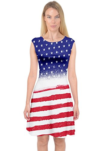 PattyCandy Womens Red Blue USA Flag Capsleeve Midi Dress - L