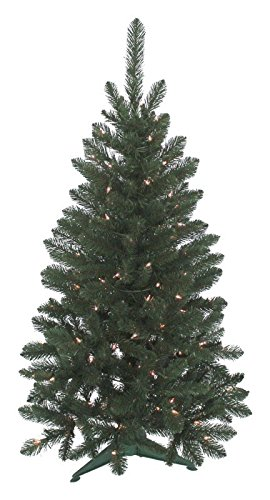 (Christmas Tree J & J Seasonal Vienna 4 ft. H Clear Prelit Artificial Tree 235 tips 100 lights Green)