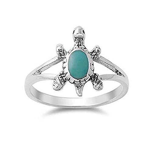 - Blue Apple Co. Split Shank Turtle Ring 925 Sterling Silver Simulated Turquoise