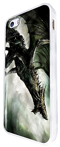 1104 - Cool Fun Scary Dragon Mythical Medieval Fire Love Design iphone SE - 2016 Coque Fashion Trend Case Coque Protection Cover plastique et métal - Blanc
