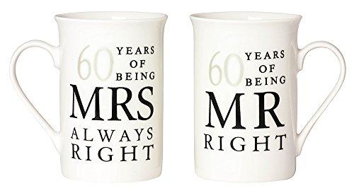 Ivory 60th Anniversary Mr Right & Mrs Always Right Mug Gift Set by (60th Anniversary Wedding)