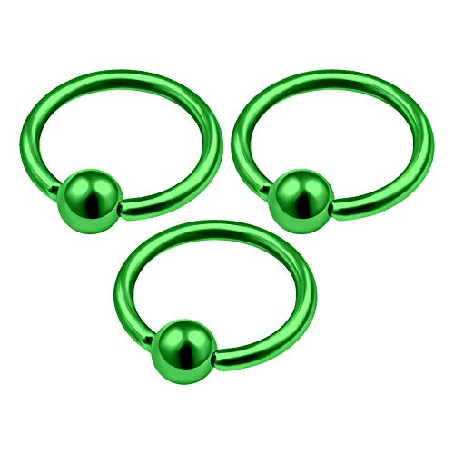 3Pcs Green Anodized 14 Gauge 1/2 12mm Captive Ring Piercing Jewelry Eyebrow Septum Nose Tragus Cartilage 4mm Ball M4665