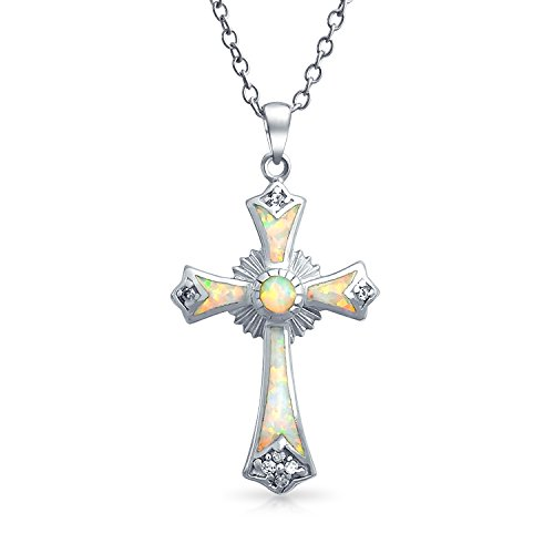 Created White Opal CZ Christian Eternal Circle Botonee Cross Pendant Necklace For Women For Teen 925 Sterling - Eternal Cross Necklace Pendant