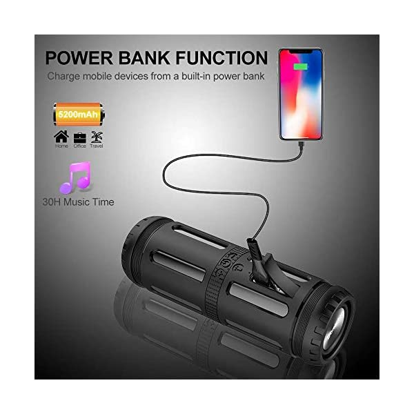 Enceinte Bluetooth Portable, avec Lampe Torche LED, 5200mAh Powerbank, 30H en Lecture, Basses Puissantes, IPX67 Waterproof, Mains Libres Téléphone, Enceintes Bluetooth sans Fil pour Camping, Cyclisme 5