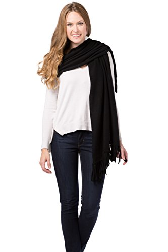 Fishers Finery Women's 100% Cashmere Knit Shawl with Fringe; 78'' X 28'' (Black) by Fishers Finery