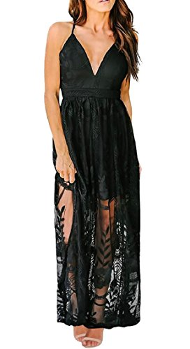 Party Backless Lace Womens Maxi Through Black V Dress See Jaycargogo Long Neck Beach B8w4qwI