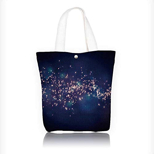 (Canvas Beach Bags glittering stars on bokeh background Totes for Women Zippered Beach Shoulder Bag W11xH11xD3 INCH)