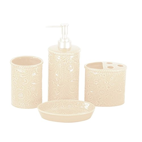 (MISC 4pc Bathroom Accessories Set Ceramic Solid Color Off White Floral Pattern, Lotion Pump Tumbler Toothbrush Holder Soap Dish)