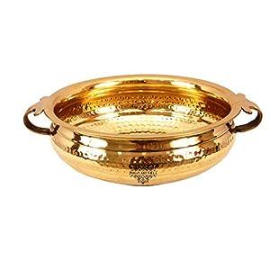 Brass Urli Water Pot fish container in metal 3.5Ltr IndianArtVilla 3.8″ X 10.0″