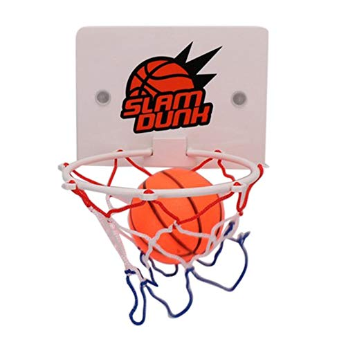 Folwme Portable Funny Mini Basketball Hoop Toys Kit Indoor Home Basketball Fans Sports Game Toy Set Kids Children Adults-White-1 Size