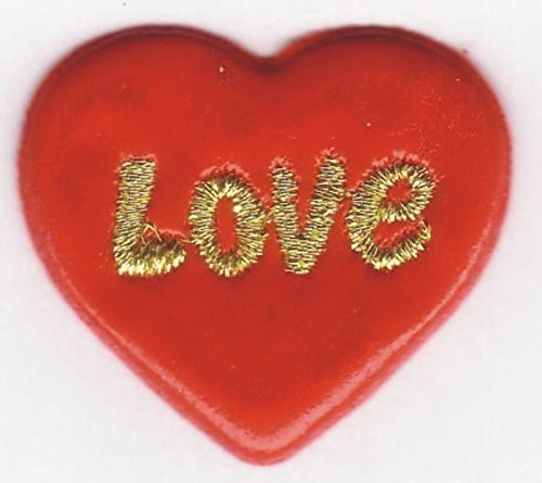 Appliques Puffy Red Love Heart Embroidery Sew-on Applique Patch Sewing Craft Fabric (Heart Flag Embroidery)