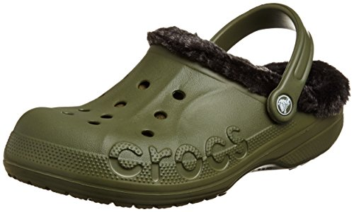 Crocs Unisex Baya Heathered Lined Clog Army Green/Black Clog/Mule Men's 8, Women's 10 - Green Heathered Olive