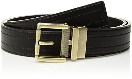 Comfort Click Men's Adjustable Perfect Fit Pbl Leather Belt - As Seen On Tv, Black/Black - Tarnished Brass, One Size Extended