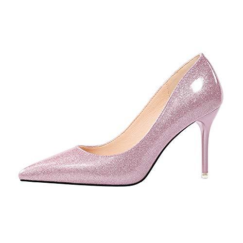 rose 35 EU FLYRCX Européens Sexy Pointus Bouche Peu Profonde en Cuir Talons Hauts Les Les dames Chaussures Simples Stiletto Chaussures de soirée de tempéraHommest