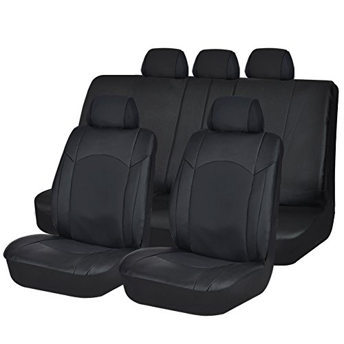 Black Leather Car Seat Covers Full set Split Back 40 60 Airbag Compatible 11pcs (Cheap Seat Covers For Cars)