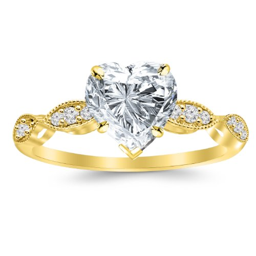 (Yellow Gold Petite Curving Diamond Engagement Ring with a 0.5 Carat Heart Cut I Color SI1 Clarity Center Stone)