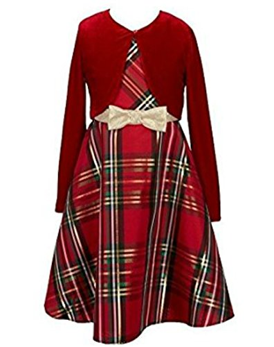 Bonnie Jean Girls Christmas Dress - Red Plaid Jacket Dress (10) (Kids Christmas Dress)