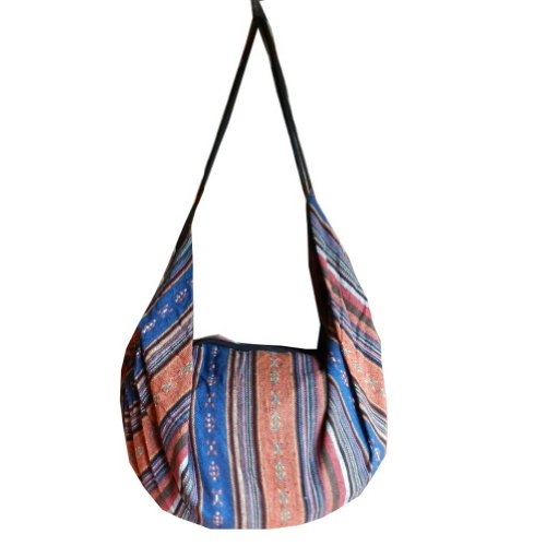 BTP Handmade Cotton Handbag Purse Shoulder Bag Backpack Hippie Hobo Hand Woven Ikat (Blue Orange IK8) by BenThai Products