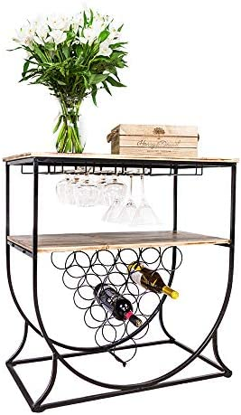MORITIA Industrial Wine Rack Console Table with Glass Holder, Metal and Wood Wine Storage Display Rack for Home, Holds 15 Bottles, 29.2W x 16.0D x 29.9H Inch