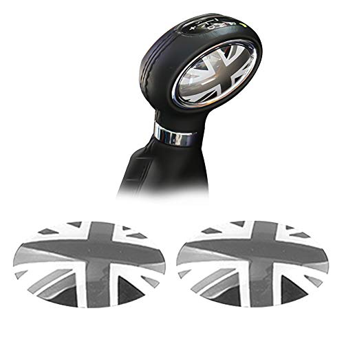 GTINTHEBOX (2 Black/Gray Union Jack UK Flag ABS Shift Knob Trim Badge Covers for Mini Cooper/Cooper S for Hardtop (F56), Hardtop 4-Door (F55), Convertible (F57) & Clubman (F54)