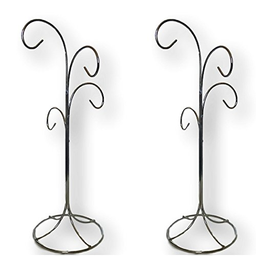 4 Arm Ornament Stand - 2 Stands - Smooth Chrome Finish - 13