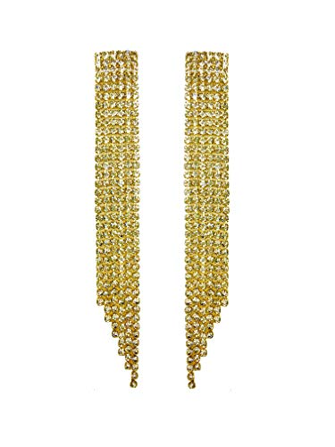 Extra Long Bling Bling Tassel Earrings Statement Art Deco Great Gatsby Rhinestone Crystal Drop Earrings or Bracelet Beauty Pageant Bridal Wedding Party Earrings Jewelry (Yellow Gold With White ()