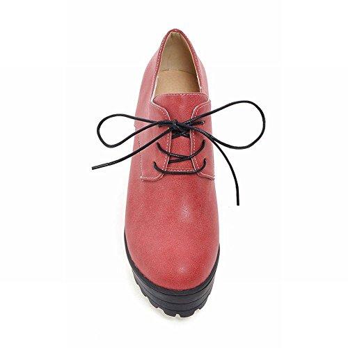 Latasa Mode Féminine Plate-forme À Lacets Chunky Haut Talon Chaussures Oxford Lumière Rouge