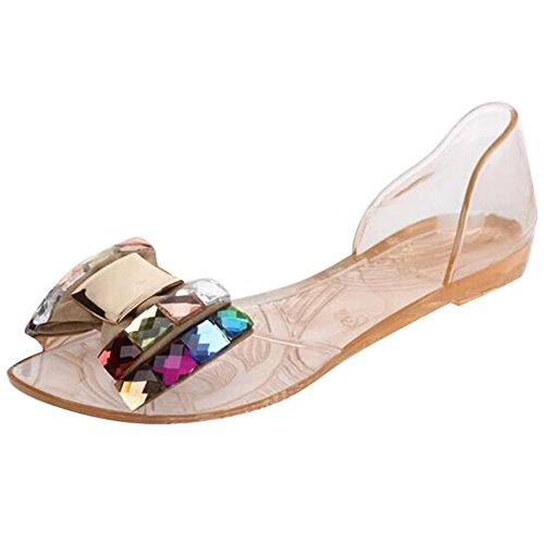 Mode Chaussures Bowtie D'été Champagne Peep Sandales Femmes Hibote Style De Sandales Toe Décontractées Plates Bling Jelly wX0PpX