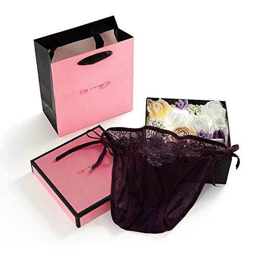 Anniversary Rose Box for Her, Eelimner Romantic LED Lace Panties Underwear Gift Set(Pack of 3),Girl Women Lady Wife Bow Lace Underwear Thongs Lingerie Ideas for Birthday Honeymoon Valentines Christmas