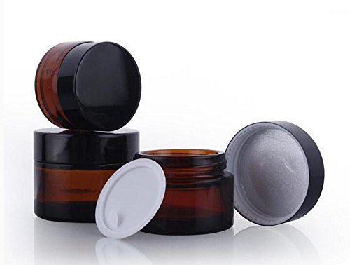 Glass Refillable Make Up Jars with Liners and Screw Black Cap Empty Face Cream Lip Balm Storage Container Pot Bottle Jar for Beauty Essential Oils Cosmetic Cream Lotion (50ml) ()
