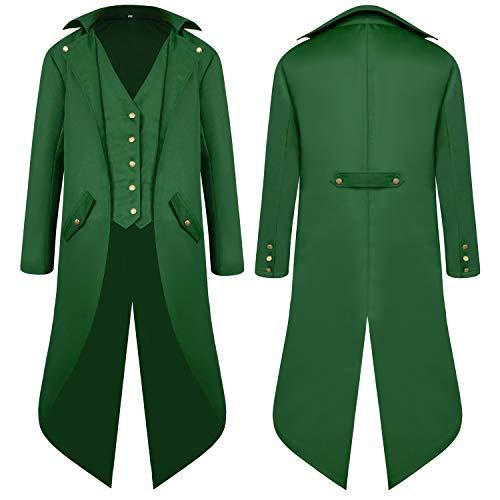 Men's Steampunk Vintage Tailcoat Jacket Gothic Victorian Medieval Halloween Costume -