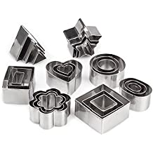 Metal Cookie Cutters Set -Spring & Easter Cookie Cutters/Mini Geometric Shapes Cookie Cutters, Vegetable Shape Cutters for Kitchen,Baking,Halloween& Christmas,Set of 24