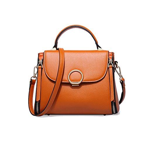 Mujer Nuevo Estilo PU moda Bolsa Cuadrada Señoras High-end Solo Hombro Orange
