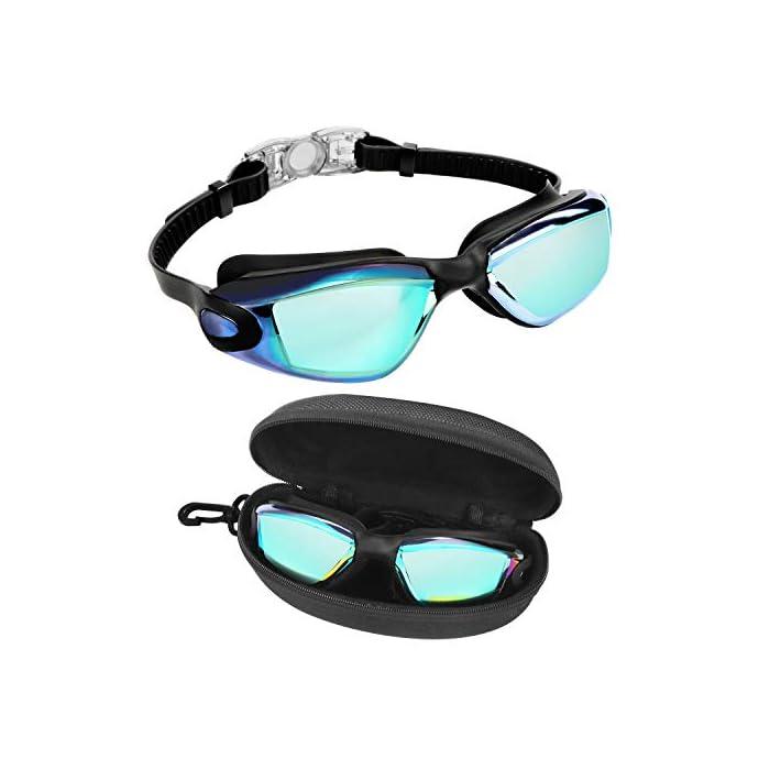 418Mrti6fTL GAFAS NATACION HERMÉTICAS: Estas gafas de silicona están hechas de silicona suave de doble capa para gran comodidad y evitar que goteen. Con el fuerte sello de goma gruesa, protegerán sus ojos del cloro y otros químicos presentes en las piscinas. Sus ojos también estarán protegidos contra el polvo, suciedad y bacterias, esto evitará la irritación y los ojos rojos. Estas gafas de nadar se pueden usar para bucear, triatlones y nado sincronizado. LENTES CON PROTECCIÓN UV: Estas coloridas gafas para natación tienen coloridas lentes de policarbonato. Son resistentes, no se romperán y tienen protección UV. Con esta protección evitará cualquier daño por los rayos del sol y también reducen la cantidad de luz que entra, esto ayuda a minimizar el resplandor, para mejorar la experiencia cuando nade en exteriores o bajo las brillantes luces de la piscina. CORREA AJUSTABLE DE SILICONA: Las gafas para bucear tienen una correa que se puede ajustar fácilmente para hacerla más grande o pequeña y ajustarse a la mayoría de los tamaños de cabezas. Estas gafas son aptas para hombres y mujeres adultos, así como también adolescentes. El botón de liberación rápida en la parte trasera ayuda a liberarlas y retirarlas fácilmente. Estas gafas de piscina son perfectas para profesionales, así como nadadores recreativos.