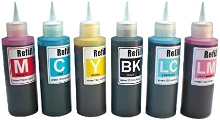 Ink refill set for all inkjet printer for CIS CISS INK SYSTEM or refillable cartridges free 6 syringes// needles obfc