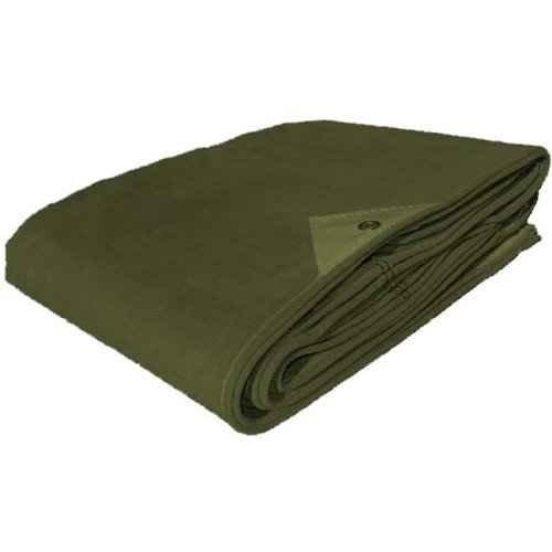 Military Outdoor Clothing New Heavy Duty Canvas Tarp, Olive Drab, 10 x 20-Feet