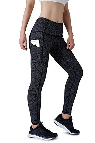 Dyorigin Leggings for Women – High-Waisted Tummy Control Compression Yoga Leggings Athletic Pants with Pockets (Heathered Black XS) by Dyorigin (Image #1)