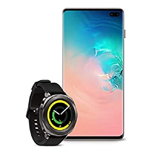 Samsung Galaxy S10+ Factory Unlocked Phone with 1TB, Ceramic White with Samsung Gear Sport Smartwatch (Bluetooth), Black, SM-R600NZKAXAR