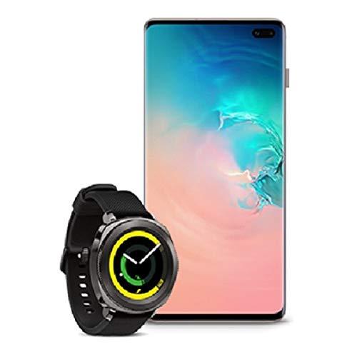 Samsung Galaxy S10+ Factory Unlocked Phone with 1TB, Ceramic White with Samsung Gear Sport Smartwatch (Bluetooth), Black, SM-R600NZKAXAR