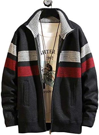 ニット カーディガン メンズ ニットジャケット 裏起毛 ジップアップ 秋冬 ブルゾン ニットセーター ボーダー柄 アウター 立ち襟 暖かい 防寒着 カジュアル 大きいサイズ