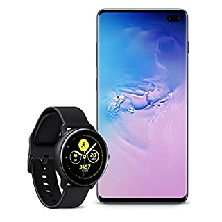 Samsung Galaxy S10+ Plus Factory Unlocked Phone with 128GB (U.S. Warranty), Prism Blue with Galaxy Watch Active (40mm), Black - US Version with Warranty