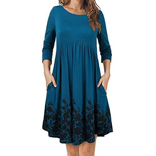 Long Sleeve Floral Pleated Dress Women's Swing Dress T Shirt Dress with Pockets Blue ()