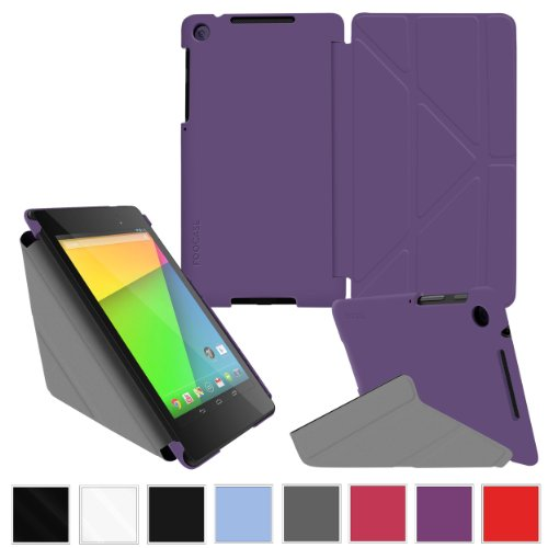 Google Nexus 7 2013 Case, Nexus 7 FHD 2nd Gen Case, rooCASE Origami Slim Shell Lightweight Tablet Stand Purple (Best Nexus 7 Gen 2 Case)