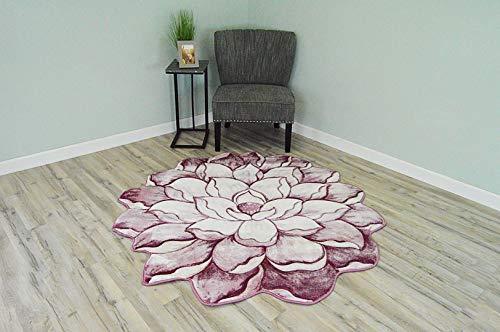 Flowers 3D Effect Hand Carved Thick Artistic Floral Flower Rose Botanical Shape Area Rug Design 301 Pink 2'7''x 2'7'' Round