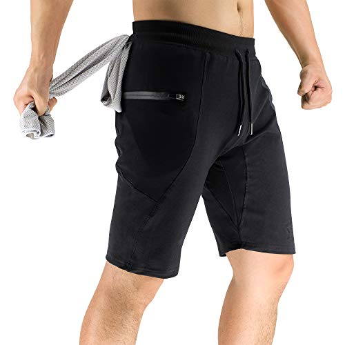 MECH-ENG Mens 2-in-1 Running Training Shorts Quick Dry Gym Workout Exercise Shorts with Towel Loop