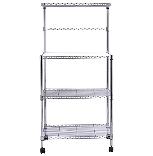 3 Tiers Kitchen Bakers Rack Free Standing Microwave Oven Stand Storage Utility Cart Workstation Shelf Rolling With 4 Swivel Wheels Adjustable Shelf Height Multi-Functional Sleek Chrome Finish