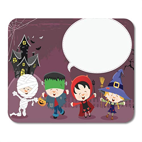 Emvency Mouse Pads Game Cute Halloween Message Kid Haunted House Party Frankenstein Mouse Pad for notebooks, Desktop Computers mats 9.5